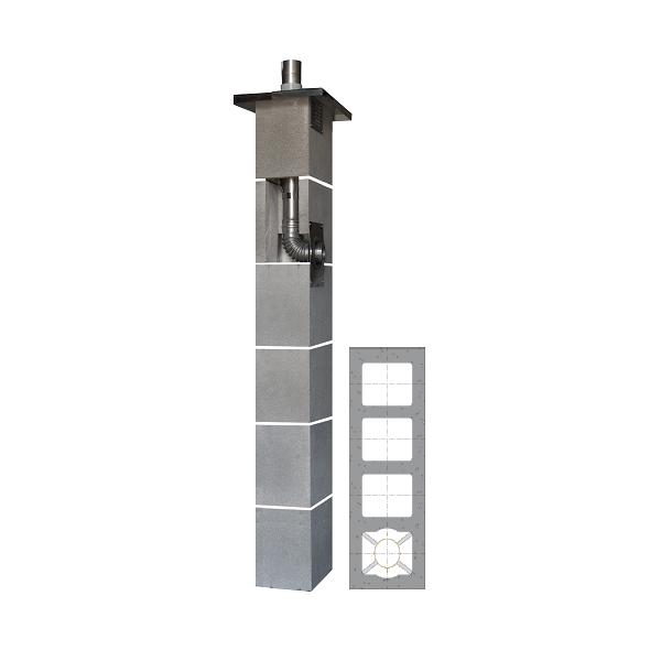 System Kominowy Stalowy JAWAR KS Ø  80mm z wentylacją 3-kanałową