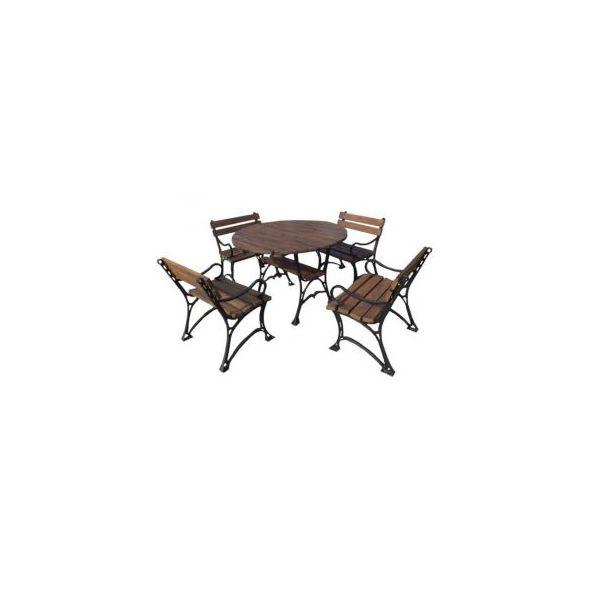 Zestaw aluminiowy Królewski z podłokietnikiem ze stołem okrągłym